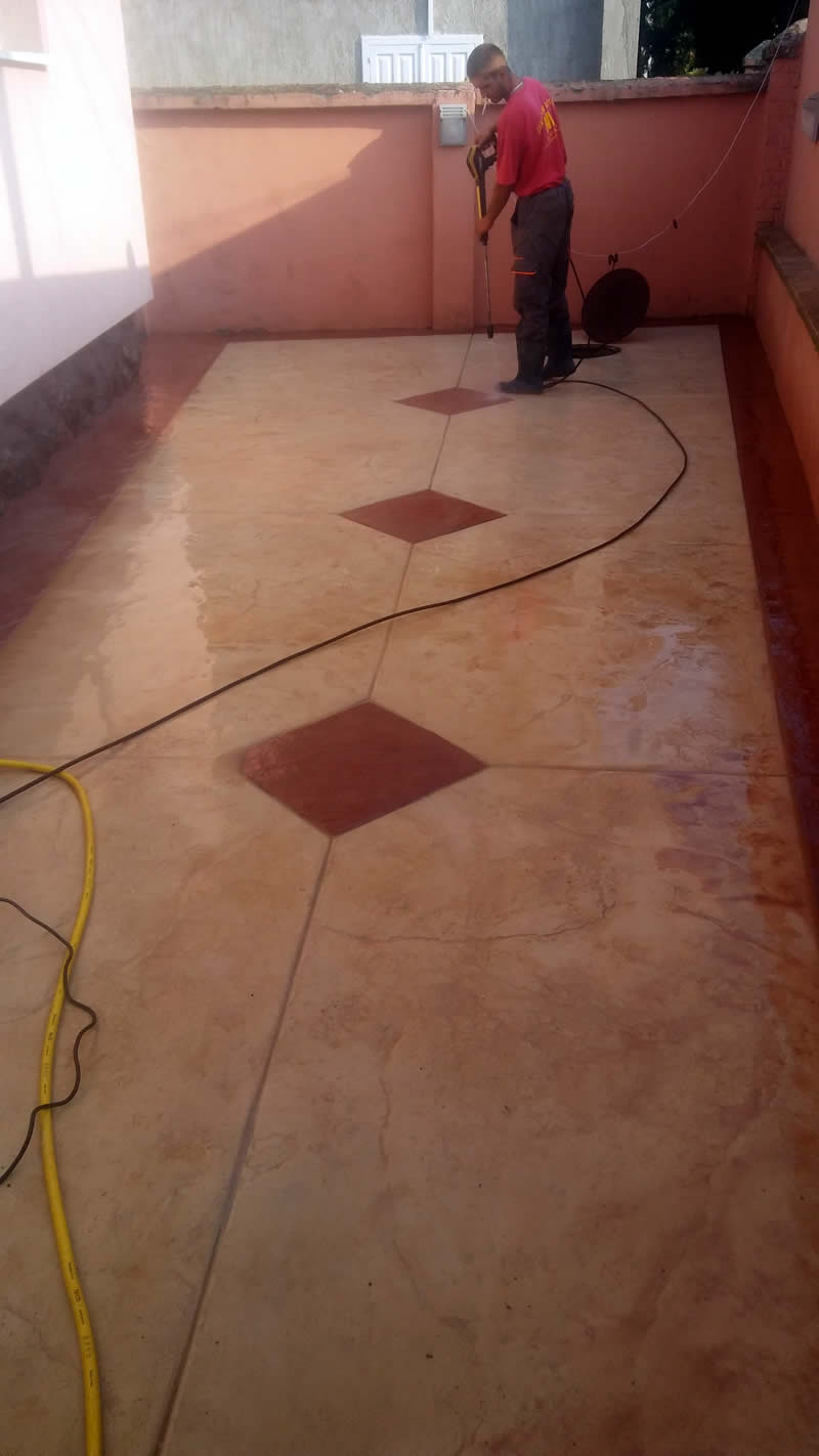 MV štampani beton 2018, završni radovi, pranje betona